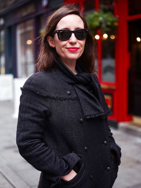 <p>Michelle Duguid – Senior Fashion Editor</p>  <p>Chanel coat, Levi's jeans, Salvatore Ferragamo shoes, Rayban sunglasses</p>