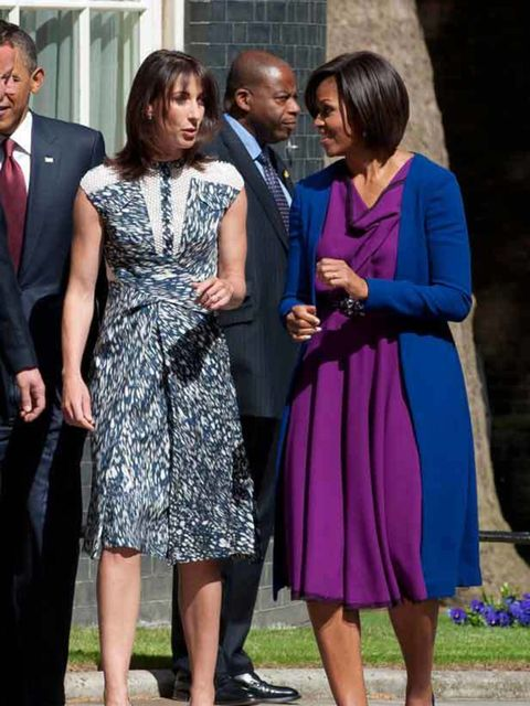 """<p><a href=""""http://www.elleuk.com/starstyle/style-files/(section)/michelle-obama"""">Michelle Obama</a> in <a href=""""http://www.elleuk.com/catwalk/collections/roksanda-ilincic/autumn-winter-2011/collection"""">Roksanda Ilinic</a> & <a href=""""http://www.elleuk"""