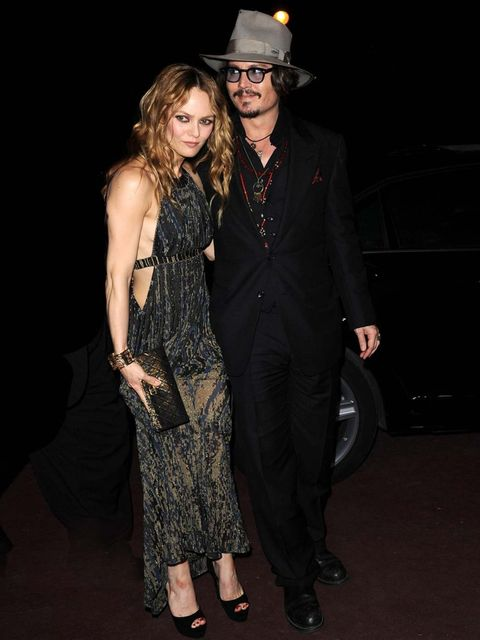 <p>Johnny Depp and Vanessa Paradis pictured on their last public outing together, 2010</p>