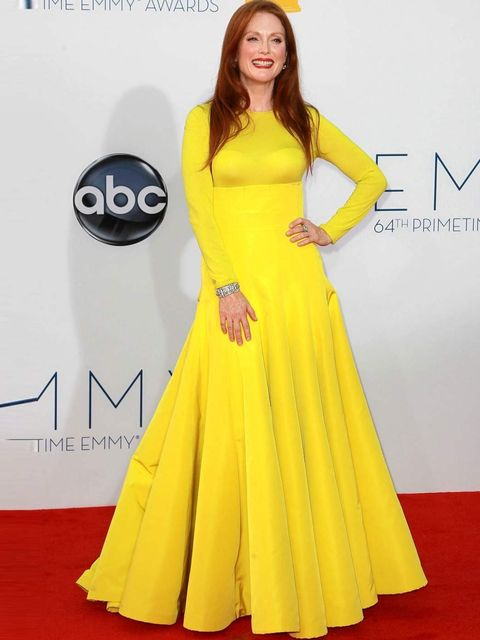 """<p>Julianne Moore wore a <a href=""""http://www.elleuk.com/catwalk/designer-a-z/christian-dior/couture-aw-2012"""">Christian Dior</a> dress with <a href=""""http://www.elleuk.com/content/search?SearchText=jimmy+choo&SearchButto"""">Jimmy Choo</a> heels on the red"""
