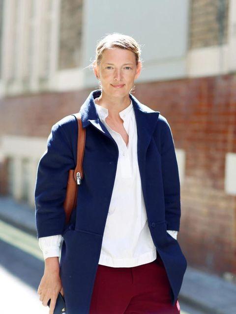 <p>Rebecca Lowthorpe, Assistant Editor ELLE / Editor ELLE Collections</p>  <p>Prada coat, Eudon Choi blouse, Roland Mouret trousers, Balenciaga shoes, Vuitton bag</p>