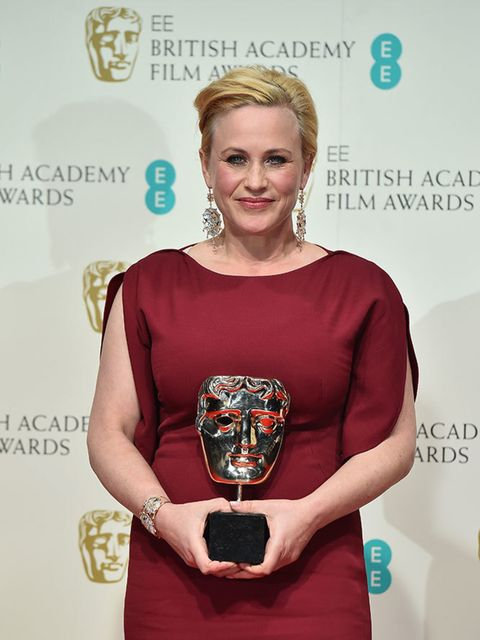 <p>Patricia Arquette with her BAFTA for Best Supporting Actress for Boyhood.</p>