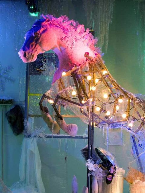 <p>Over at Harvey Nichols the visual team have captured the zeitgeist with their own Frozen Planet recreated within the windows. Glittering snow drifts push against the windows and jagged icicles tremble above whilst a variety of animals (that anyone who'