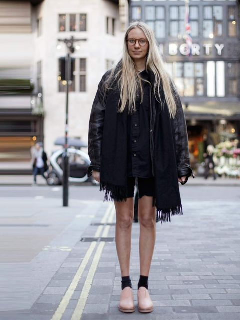 <p>Claudia, 25, Intern. Like Mary scarf, vintage jacket, Cheap Monday shorts, Acne shoes, American Apparel bag.</p>