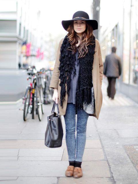 <p>Laura, Actress. Topshop jacket, boyfriend's t-shirt, Topshop jeans, vintage shoes, Asda hat, Prada bag.</p>