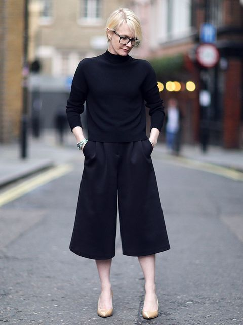"""<p><strong>Lorraine Candy - Editor-in-Chief</strong></p><p><a href=""""http://www.topshop.com/en/tsuk/product/pleat-front-satin-culottes-2705404"""">Topshop</a> Culottes £30 , <a href=""""http://www.jimmychoo.com/en/women/shoes/pumps/abel/black-patent-leather-poin"""