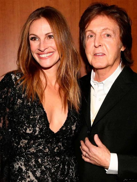 <p>Julia Roberts and Sir Paul McCartney at the 56th Annual Grammy Awards.</p>