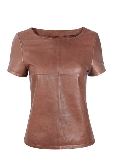 <p>Leather T-shirt, £75, by Wallis (0845 121 4520)</p>
