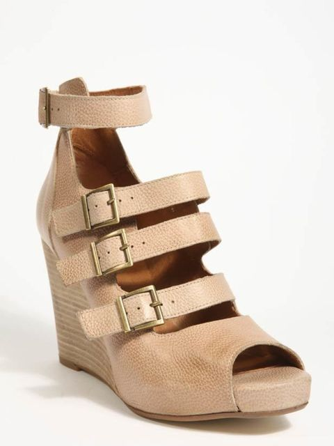 "<p>Taupe buckle wedges, £80, by <a href=""http://www.urbanoutfitters.co.uk/Wilma-Buckle-Wedge/invt/5310455942367&bklist=icat,5,shop,womens,shoes,wheels"">Urban Outfitters</a> </p>"