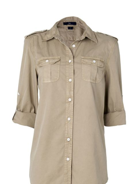 <p>Khaki button-up shirt, £32.50, by Gap (0800 427 789)</p>