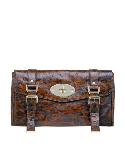 "<p>Leopard print satchel clutch, £450, by <a href=""http://www.mulberry.com/"">Mulberry </a></p>"