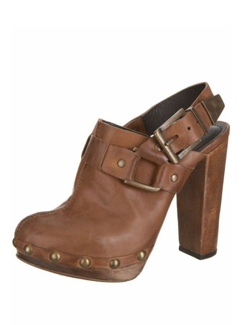 <p>Brown leather clogs, £75, by Topshop (0845 121 4519)</p>