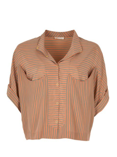 <p>Cropped striped shirt, £85, by Whistles (0870 770 4301)</p>