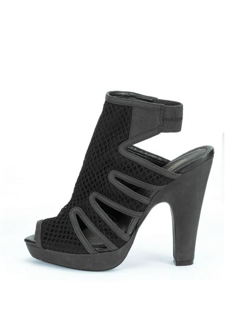 <p>Black mesh peep toe shoes, £29.99 (0207 323 2211)</p>
