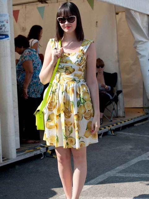 <p>Hannah, 22, Beauty Assistant. Primark dress, H&M shoes, Cambridge Satchel Company bag, Valentino sunglasses.</p>