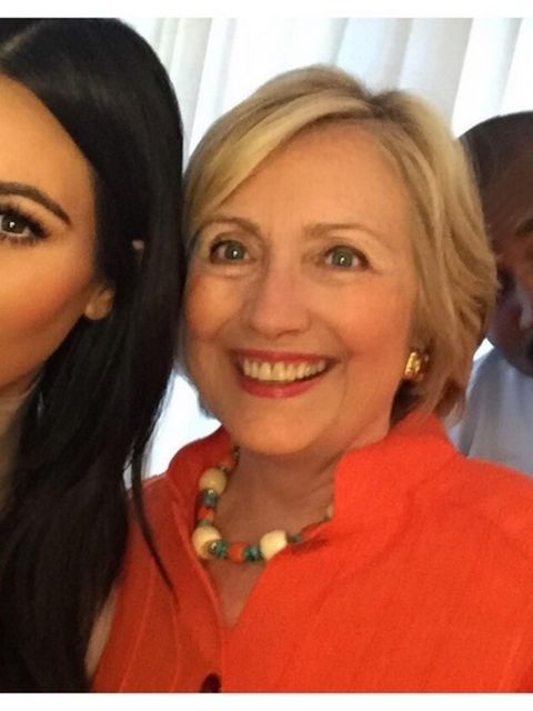 <p>Of course, Kim Kardashian has to appear on our list (even though her younger sister Kendall overtook her in the running for most-liked Instagram pic). Here, she poses with presidential candidate, Hillary Clinton... And is that Kanye we spy in the backg