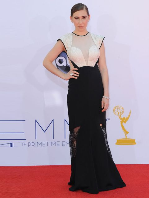 <p><strong> </strong>Zosia Mamet arrives at The 64th Annual Primetime Emmy Awards wearing a black and white Bibhu Mohapatra gown</p>