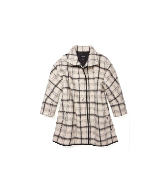 <p>Pair this monochrome checked coat with a block-colour cable knit jumper and skinny jeans for a classic weekend look.</p><p>Club Monaco coat, £640</p>