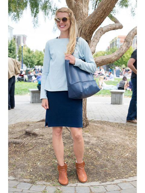 Peggy Friar wears Taylor Switch top and dress, J.Crew boots and bag with Madewell sunglasses.