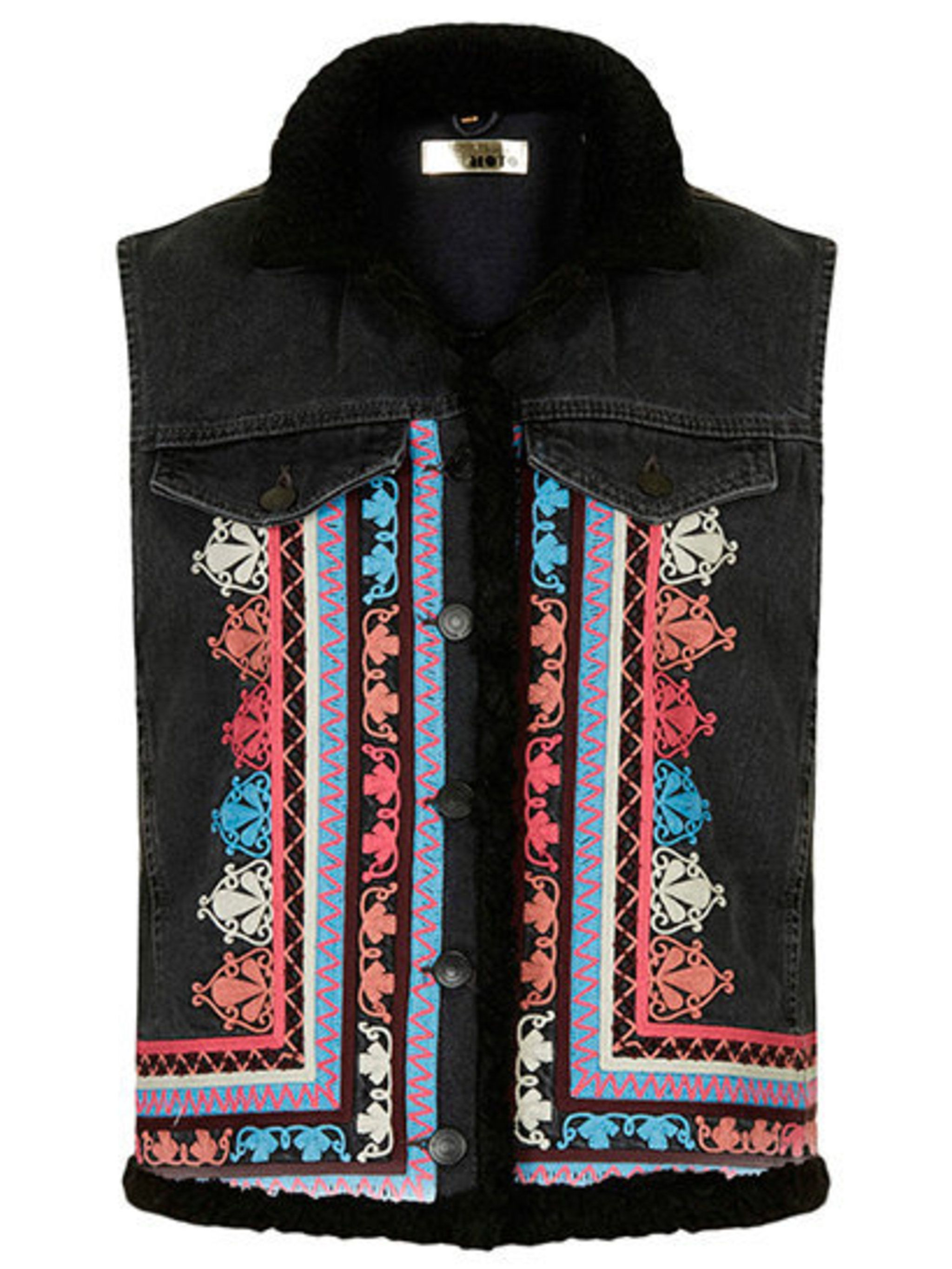 "<p>Embroidered borg gilet, £60 at <a href=""http://www.topshop.com/en/tsuk/product/clothing-427/festival-1905528/moto-embroidered-borg-gilet-2963260?bi=1&ps=200"">Topshop</a>.</p>"