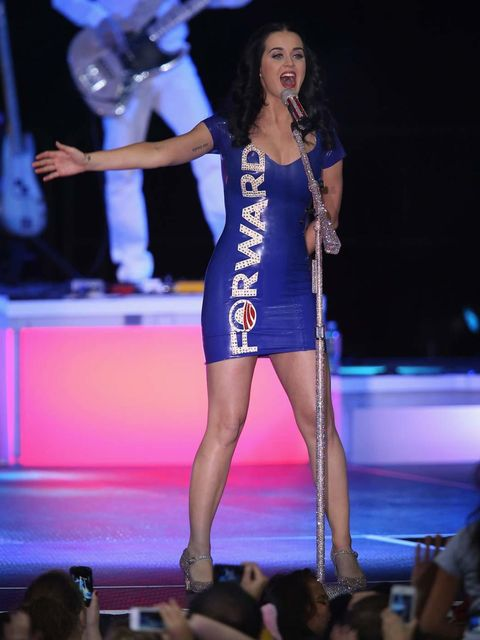<p>Katy Perry performs on the Obama re-election campaign trail in a dress stating the Obama slogan.</p>