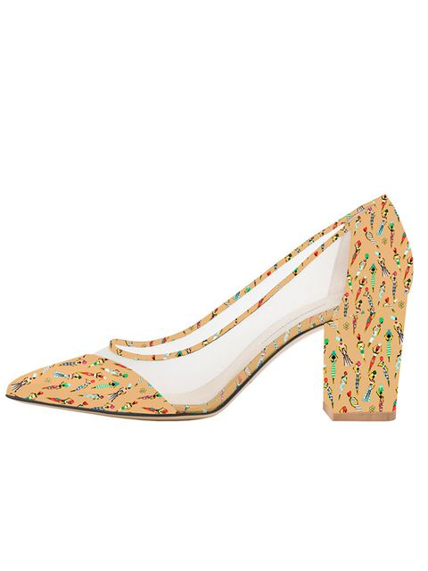 "<p>Bionda Castana for M2M <a href=""http://biondacastana.com/collections/shoes/products/juliet-mothers2mothers-africa-art-deco-single-sole-mid-heel-75mm-heel"" target=""_blank"">'Juliet' shoes</a>, £395</p>"