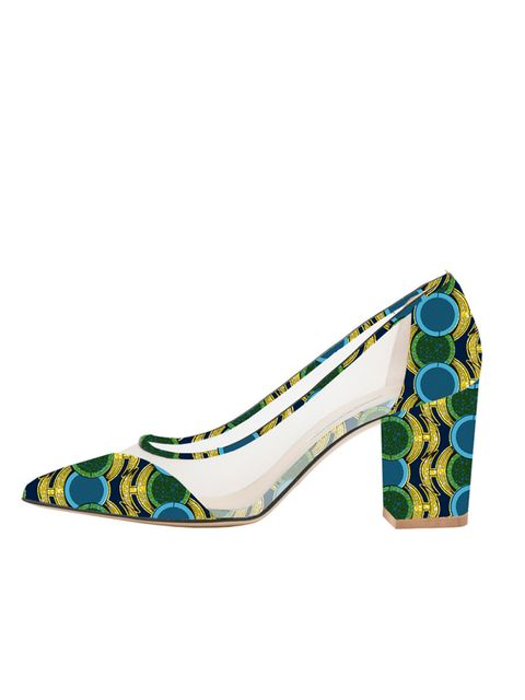 "<p>Bionda Castana for M2M <a href=""http://biondacastana.com/collections/shoes/products/juliet-mothers2mothers-africa-art-deco-single-sole-mid-heel-75mm-heel-1"" target=""_blank"">'Juliet' shoes</a>, £395</p>"