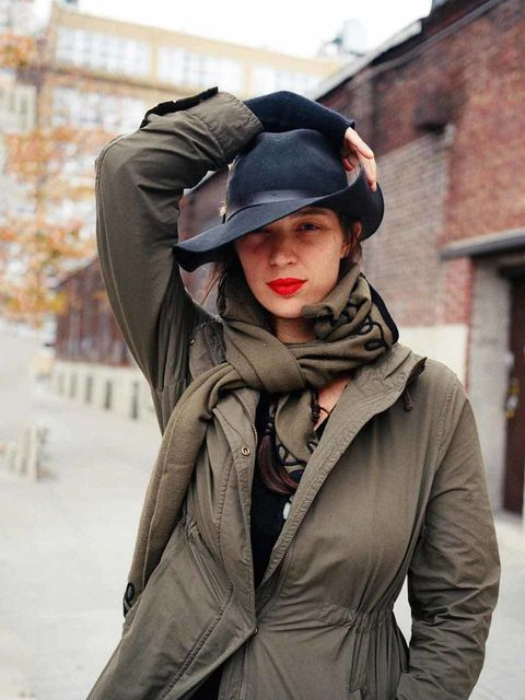 <p>Rebecca, Brooklyn 2012</p><p>Wearing: Barbour Hat, Uniqlo Jacket, Vintage Jumper and Scarf</p>