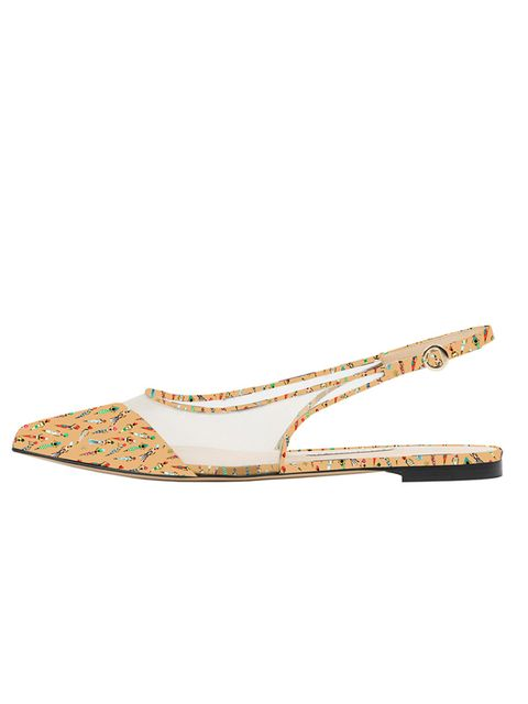 "<p>Bionda Castana for M2M <a href=""http://biondacastana.com/collections/shoes/products/violet-mothers2mothers-africa-design-flat-pointed-slingback"" target=""_blank"">'Violet shoes'</a>, £375</p>"