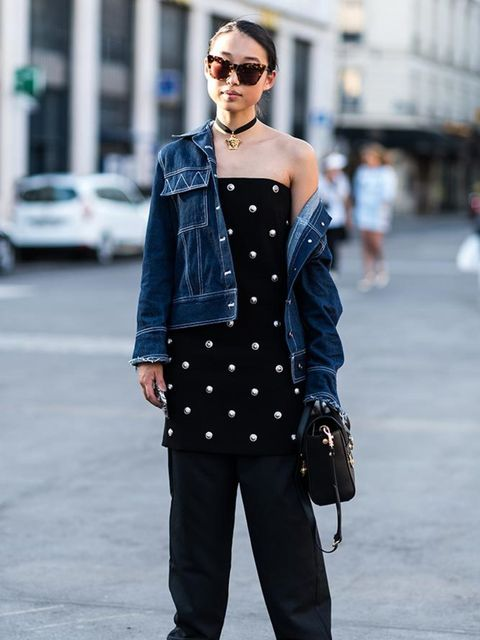 <p>Margaret Zhang</p>  <p>Rshemiste denim jacket, Versace dress, Maurie and Eve trousers, Tony Bianco shoes</p>