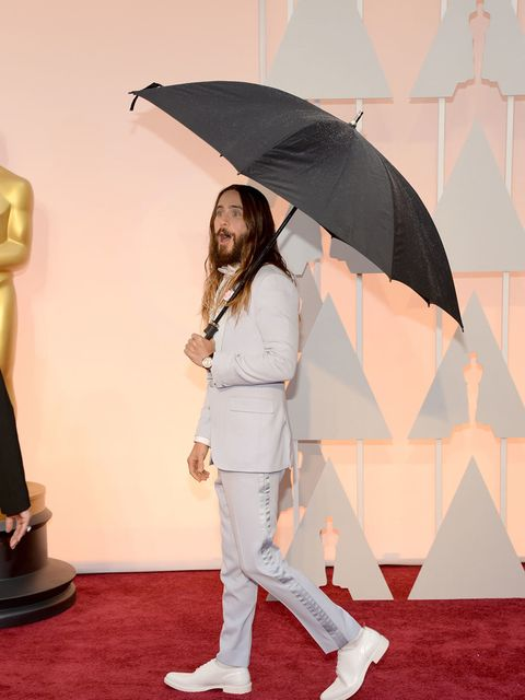 <p>There was no way Jared Leto was going to let the rain mess up his hair.</p>