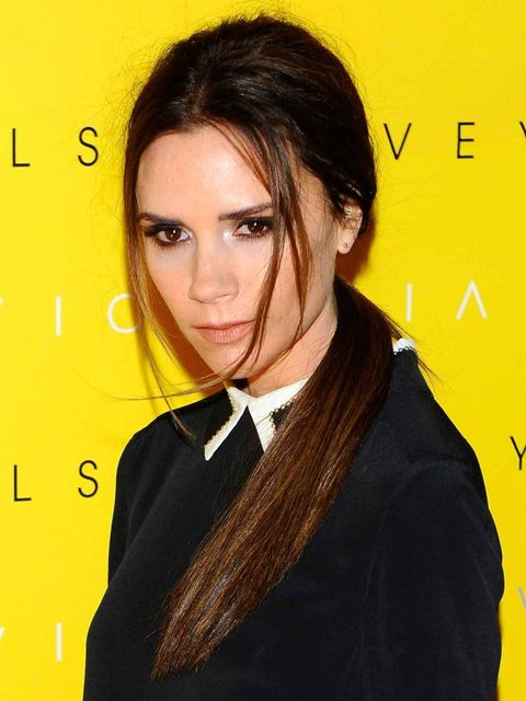 <p>A different look for the star: a sleek, low ponytail</p>