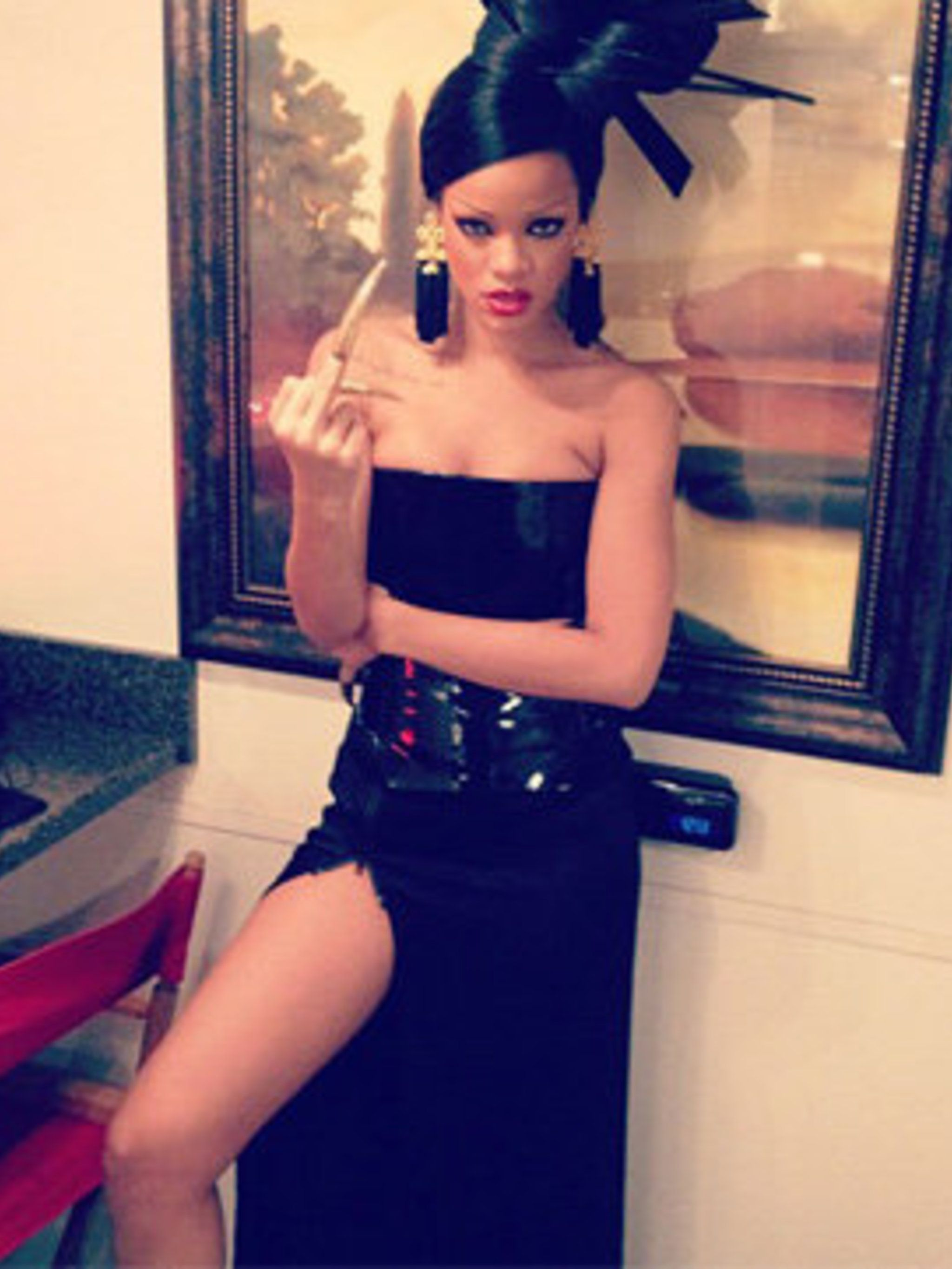 <p>One of Rihanna's looks for her shoot with Coldplay</p>