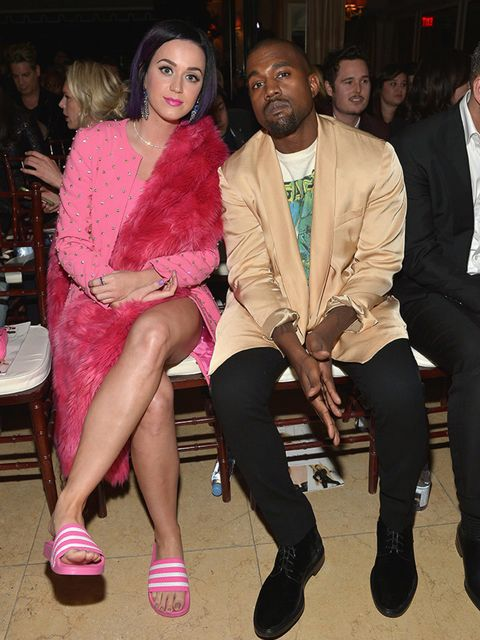 Kanye without Kim.  Spotted Katy Perry's pink slides? We die.