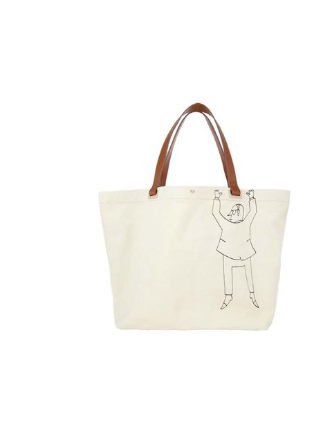 """<p>Don't let him get away! This brilliant tote is inspired by the work of cartoonist Saul Steinberg, and we are <em>thrilled to bits</em> with it. </p><p><a href=""""http://www.anyahindmarch.com/View-All/Escapist-tote/Natural-5050925812061.html?start=17"""">Any"""