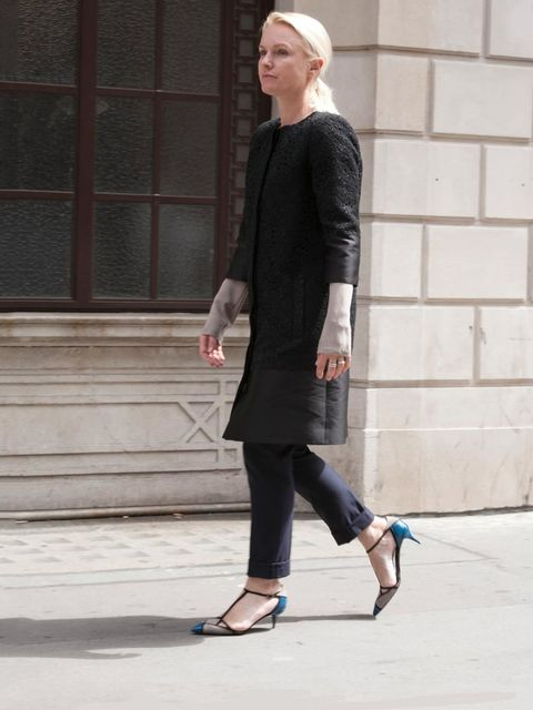 <p><strong>Lorraine Candy, ELLE Editor-in-Chief:</strong></p><p>Erdem coat, Joseph trousers, Roger Vivier small heel shoes</p>