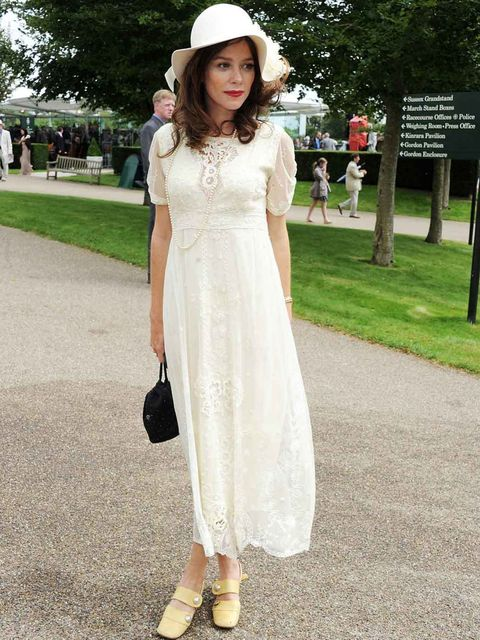 <p>Anna Friel wearing a vintage lace dress to Glorious Goodwood, August 2012</p>