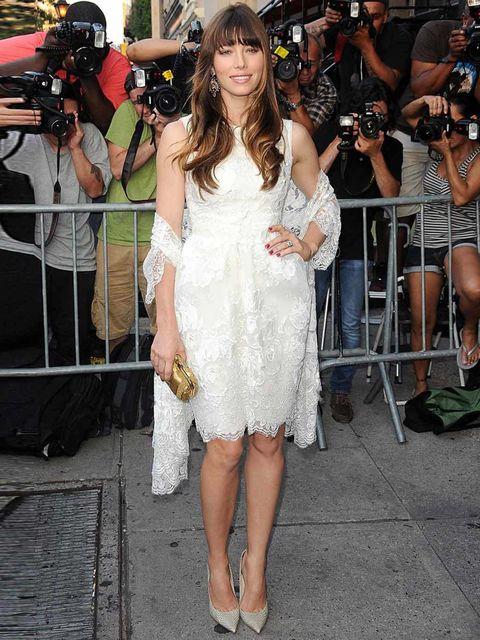 "<p><a href=""http://www.elleuk.com/star-style/celebrity-style-files/jessica-biel"">Jessica Biel</a> wearing a beautiful white lace <a href=""http://www.elleuk.com/catwalk/designer-a-z/elie-saab/couture-aw-2012"">Elie Saab Couture</a> during a 'Total Recall' s"