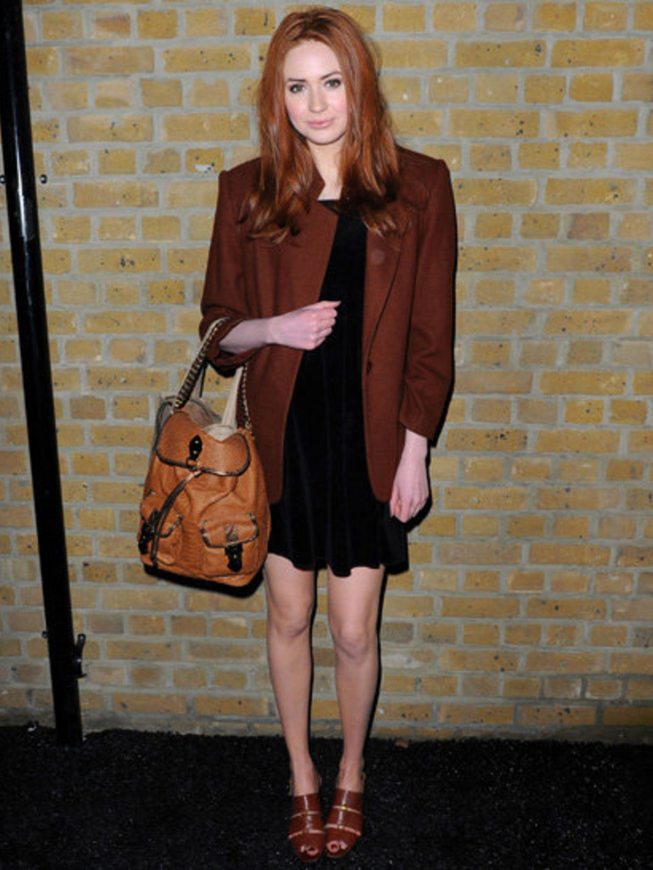 <p>Karen Gillan photographed in 2011 attending London Fashion Week A/W 2011</p>