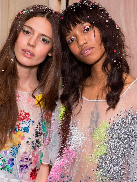 """<p><a href=""""http://www.elleuk.com/catwalk/ashish/spring-summer-2016"""">Ashish</a></p>  <p>The look: Skater girl who's had a liason in a sequin factory.</p>  <p>Hair stylist: Ali Khan</p>  <p>Key products:<a href=""""http://www.feelunique.com/p/"""