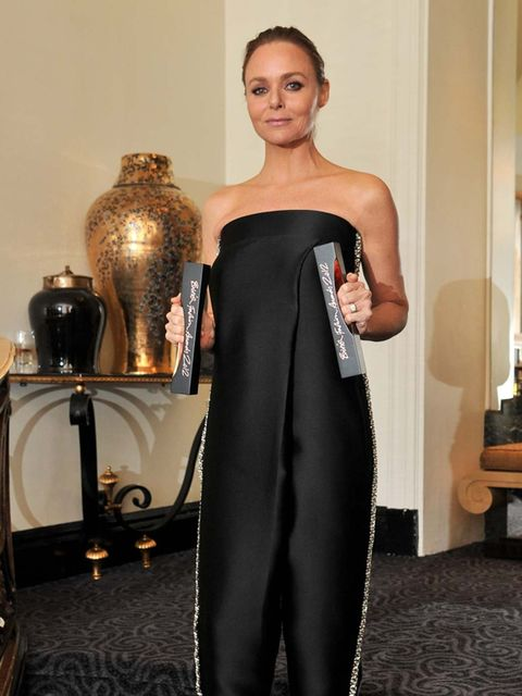 "<p>Stella McCartney, winner of both the Designer Brand and Designer of the Year awards, wears <a href=""http://www.elleuk.com/catwalk/designer-a-z/stella-mccartney/spring-summer-2013"">Stella McCartney</a>.</p>"