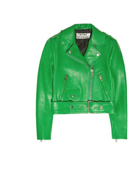 "<p>Acne leather biker jacket, £1000, at <a href=""http://www.net-a-porter.com/product/334455?cm_mmc=LinkshareUK-_-Hy3bqNL2jtQ-_-Custom-_-LinkBuilder&amp&#x3B;siteID=Hy3bqNL2jtQ-hHDMnLrret8qdKztx0wMbw"">Net-a-Porter </a></p>"