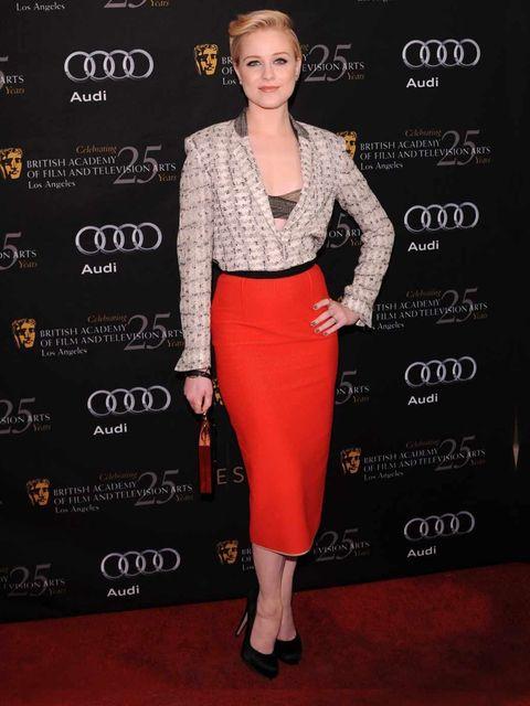 <p>Evan Rachel Wood in Roland Mouret</p>