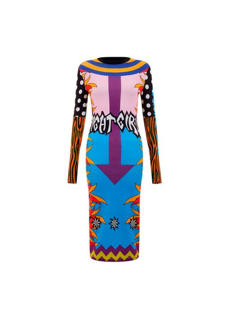 """<p><a href=""""http://www.houseofholland.co.uk/products/flame-print-midi-dress"""" target=""""_blank"""">House of Holland</a> dress, £130</p>"""