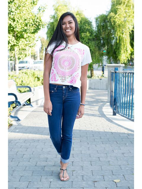 Jessica Baldovino wears Forever 21 t shirt, True Religion jeans and American Eagle shoes.