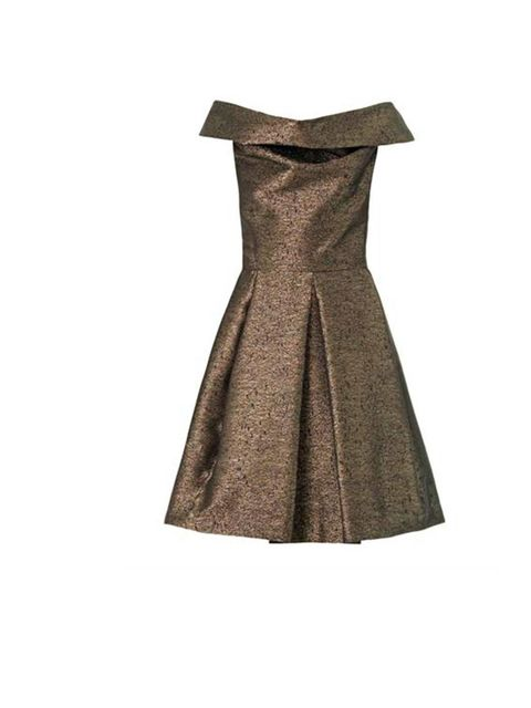 """<p>With the signature fold over neckline and feminine pleated skirt, this metallic gold dress from <a href=""""http://www.matchesfashion.com/product/163686"""">Vivienne Westwood </a>would be perfect to wear to a winter wedding.</p><p><a href=""""http://www.elleuk."""