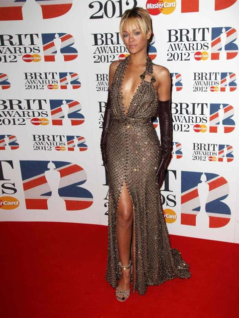 """<p><a href=""""http://www.elleuk.com/star-style/celebrity-style-files/rihanna"""">Rihanna</a> hits the red carpet in <a href=""""http://www.elleuk.com/catwalk/designer-a-z/givenchy/couture-ss-2012"""">Givenchy Haute Couture by Riccardo Tisci</a> at the 2012 Brit Awar"""