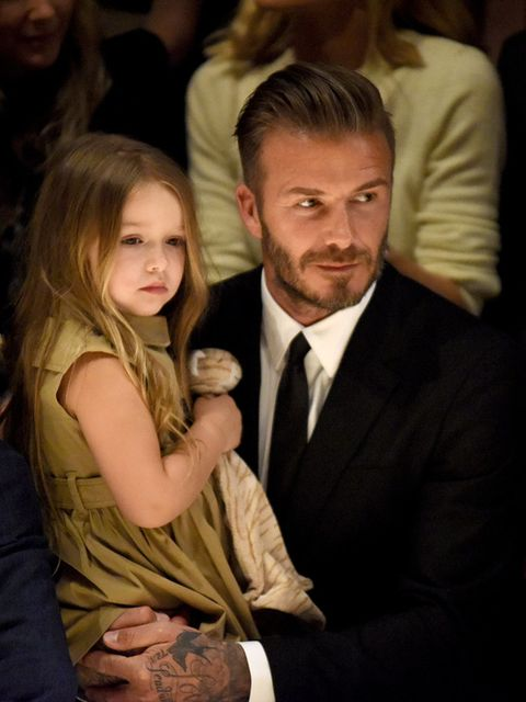 David Beckham with Harper at the Burberry London in Los Angeles event, April 2015.