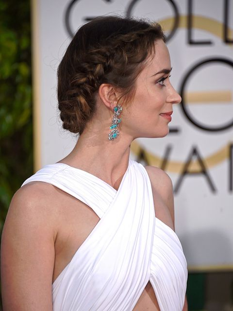 "<p>Whereas a neat braid could have looked too done, <a href=""http://www.elleuk.com/fashion/celebrity-style/golden-globes-2015-red-carpet-dresses"">Emily Blunt's</a> dishevelled fishtail braid added an ease to her <a href=""http://www.elleuk.com/fashion/cele"