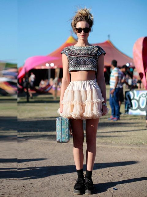 <p>Alice French is wearing a Zara top with American Apparel skirt, Doc Marten shoes, bag from Liberty's and Ray Ban sunglasses. </p>